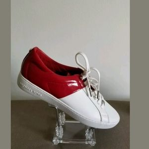 Michael Kors Women's Leather White Red Sneakers 10